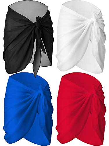 4 Pieces Women Chiffon Short Sarongs Cover Ups Beach Swimsuit Wrap Skirt, 4 Colors(Black, White, Blue and Red)