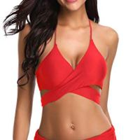 SHEKINI Women's Push-up Halter Bandage Bikini Swimsuits Ruched Swim Bottoms (Large, Rose Red)