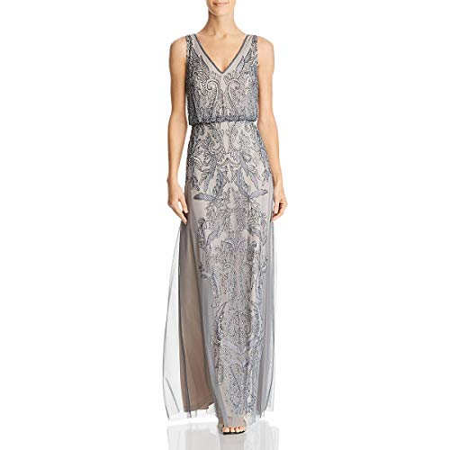 Adrianna Papell Womens Plus Beaded Blouson Evening Dress Gray 20W