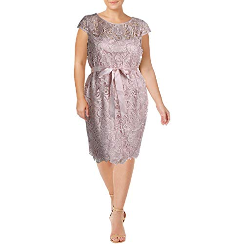Adrianna Papell Womens Plus Lace Cap Sleeve Cocktail Dress Pink 20W