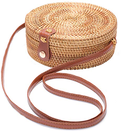 Handwoven Round Rattan Bag Shoulder Leather Straps Natural Chic Hand