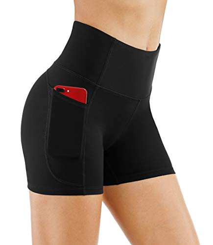 THE GYM PEOPLE High Waist Yoga Shorts for WomenTummy Control Fitness Athletic Workout Running Shorts with Deep Pockets (Medium, Black)