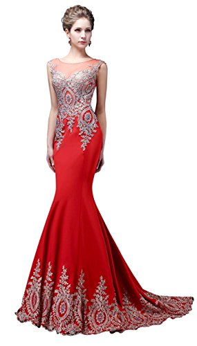 Factoryoffers Mermaid Evening Dresses Appliques Beaded Lace Crystals Long Gowns