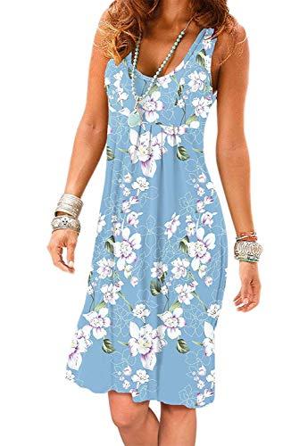 Akihoo Women Casual Summer Sleeveless Knee Length Pleated Sun Dress Flower M