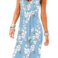 Akihoo Women Casual Summer Sleeveless Knee Length Pleated Sun Dress Flower M