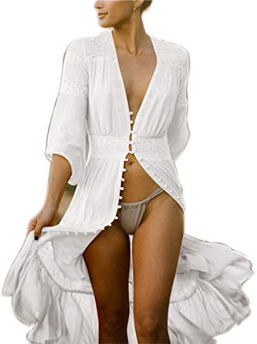 Sheer Kimono Bathing Suit Cover up Cardigan Womens Long Lace Kimono Embroidered with 3/4 Sleeves (One Size, B-White)