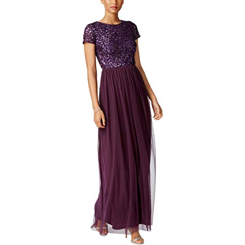 Adrianna Papell Womens Plus Sequined Sleeve Evening Dress Purple 20