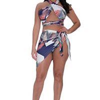 Viottiset Women's Criss Cross High Waist Bikini with Swimsuit Cover Up Blue Medium