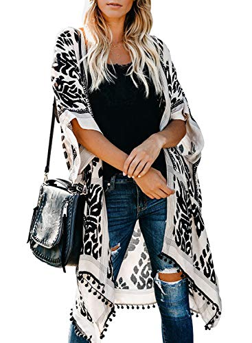 Sidefeel Women Print Pom Pom Tassel Kimono Beach Cover Up Cardigan Top One Size Black