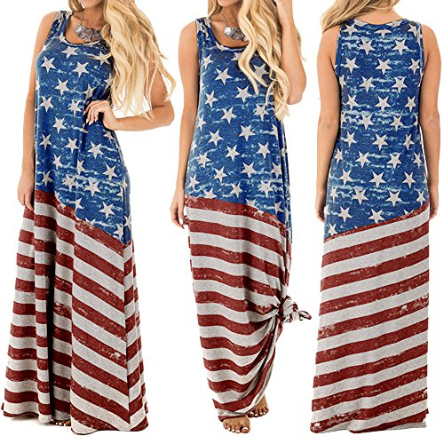 TAINAN Women's July 4th American Flag Printed Sleeveless Maxi Dress (X-Large, Blue)