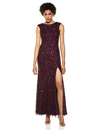 Adrianna Papell Women's Plus Size Sequin Beaded Gown with Cap Sleeves and Boat Neckline, Night Plum, 14