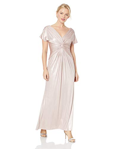 Adrianna Papell Women's Plus Size Metallic Twist Cap Sleeve Gown, Dusted Petal, 18
