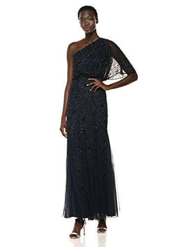 Adrianna Papell Women's Plus Size Beaded Long Dress, Midnight/Black, 24