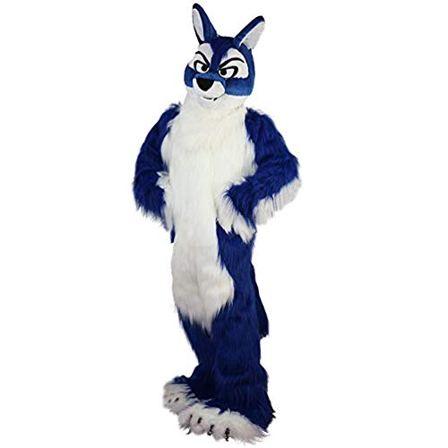 Blue Hairy Wolf Mascot Costume Adult Halloween Costume