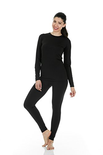 Thermajane Women's Ultra Soft Thermal Underwear Long Johns Set with Fleece Lined (Large, Black)
