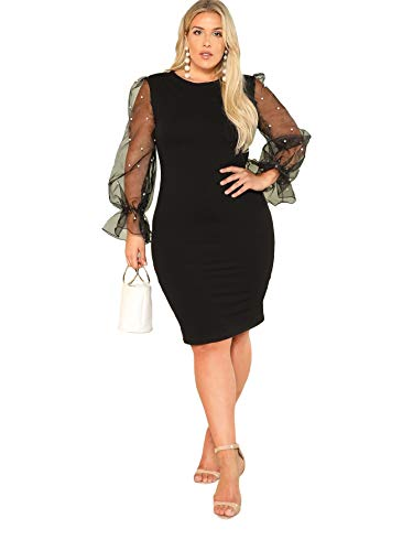 SheIn Women's Plus Size Elegant Mesh Contrast Pearl Beading Sleeve Stretchy Bodycon Pencil Dress Black XX-Large Plus