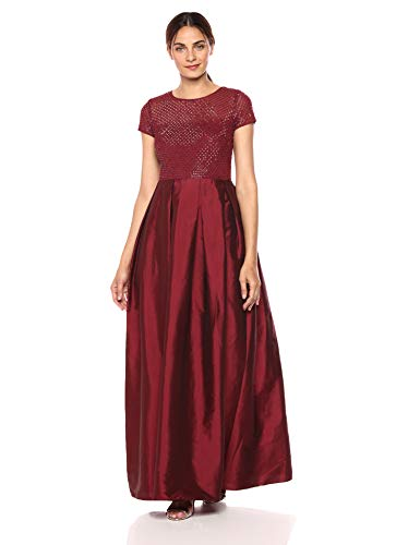 Adrianna Papell Women's Plus Size Long Beaded Short Sleeve Taffeta Pleated Ball Skirt, Burgundy, 16W
