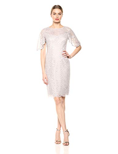 Adrianna Papell Women's Plus Size Metallic Lace Sheath Dress with Flutter Sleeves, ICY Lilac, 18