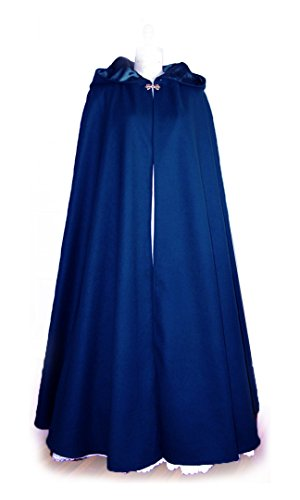 Midnight Blue Velvet Hooded Long Cloak with Satin Lining, Size Lg – Made in USA