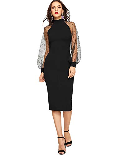 Romwe Women's Mock Neck Long Mesh Sleeve Zipper Back Sheath Dress Black X-Large