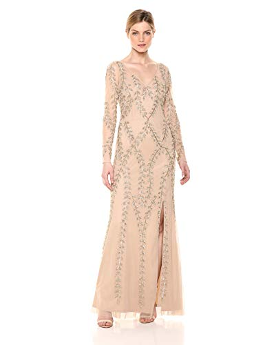 Adrianna Papell Women's Plus Size Long Beaded Dress, Champagne/Gold, 14