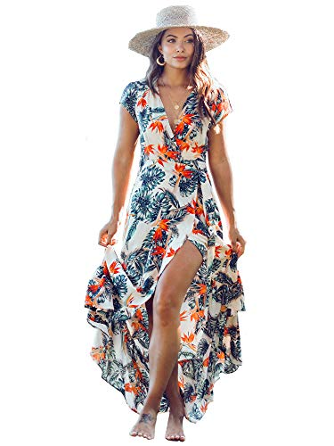 XIX Palm – Cozumel Wrap Dress | Sundress & Beach Coverup | Casual Outfits Overall | Floral & Flowy Vintage | V-Neck with Front Belt Knot Wearing 100% Rayon for Women.