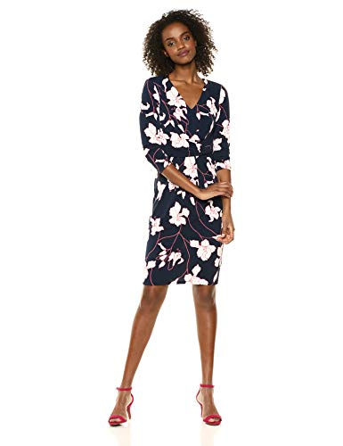 Adrianna Papell Women's Plus Size Printed Crepe Knit Sheath DRES, Navy/Pink Multi 14