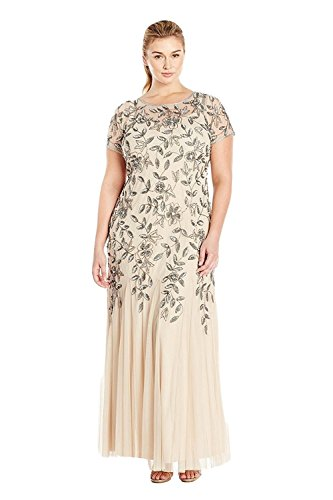 Adrianna Papell Women's Plus-Size Floral Beaded Gown with Godets, Taupe/Pink, 16W