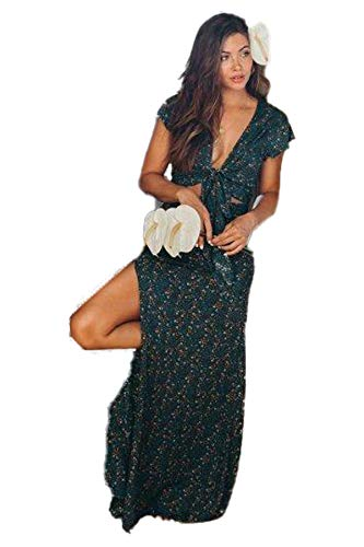 XIX Palm – Vancouver Knot top & Festival Skirt | Sundress & Beach Coverup | Casual Outfits Overall | Floral & Flowy Vintage | Loop-Neck Ruffle Wearing 100% Rayon for Women. (Extra Small)