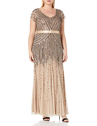 Adrianna Papell Women's Plus Size Floor Length Beaded Cap Sleeve V-Neck Dress, Nude, 18W