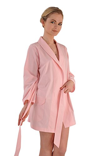 Hand-Made Swiss Cotton Shawl Collar Hamptons' Collection Beach Robe/Coverup-Just Pink XS/S