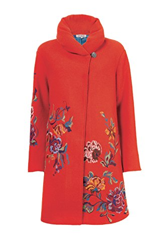 IVKO Long Merino Wool Coat with Embroidered Flower Designs, Orange, US 14 – EUR 44