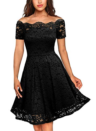 MissMay Women's Vintage Floral Lace Short Sleeve Boat Neck Cocktail Formal Swing Dress, F-black_1, X-Large