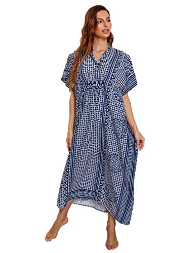 FINCATI Women's Kimono Kaftan Maxi Dresses with Grids Print V Neck Short Sleeve Loose Bikini Cover Ups for Beach Swiming Pool Dailylife (Dark Blue)