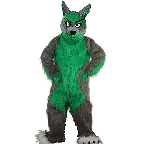 Grey Long Hairy Wolf Mascot Costume Adult Halloween Costume