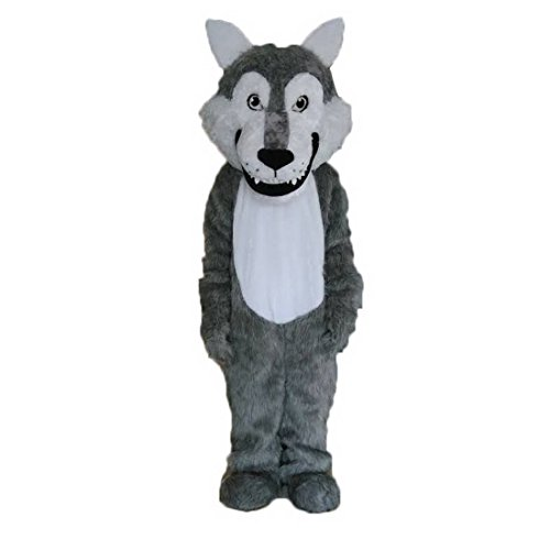 Langteng Grey Wolf Furry Mascot Costume Cartoon Party Halloween Dress Up