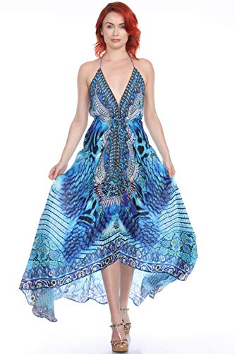 Luxury Convertible Maxi High Low Resort Day V Neck Beach Dress Cover up Casual Summer Caftan (Large/X Large, 191061MXD)