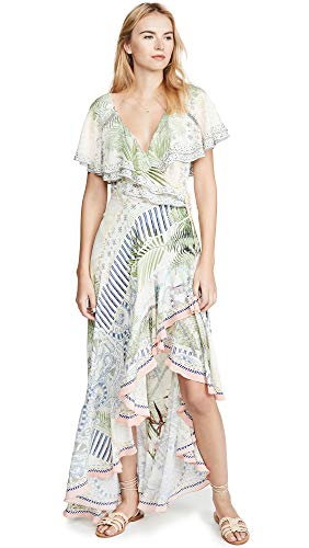 Camilla Women's Frill Sleeve Long Dress, Beachsha, Off White, Print, Medium