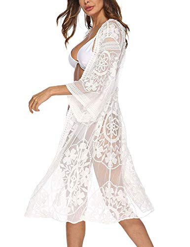 Women'S Bathing Suit Kimono Beach Cover Up Lace Crochet Pool Swimwear