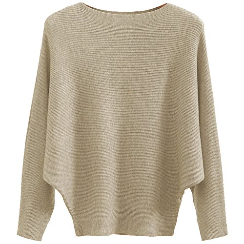 GABERLY Boat Neck Batwing Sleeves Dolman Knitted Sweaters and Pullovers Tops for Women (Tan, One Size)