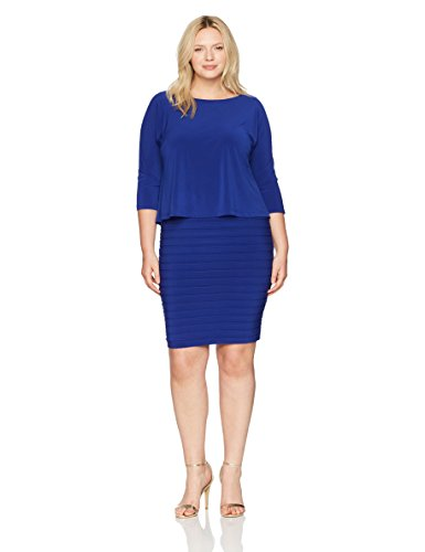 Adrianna Papell Women's Plus Size Shutter Pleat Popover Sheath Dress, Sapphire, 16W