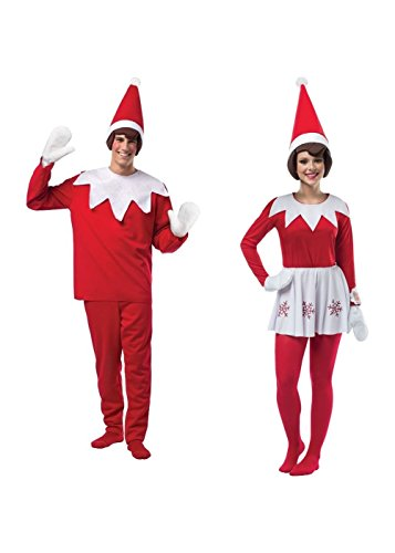 Elf on a Shelf Men and Women Couples Christmas Costume Set