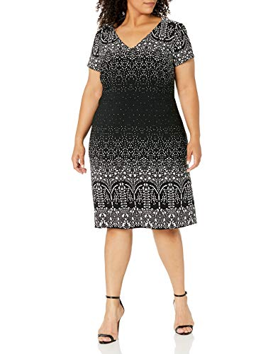 Adrianna Papell Women's Size Plus Lace Majesty Printed A-line, Black/Multi, 20