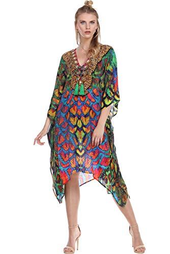 La Moda Caftan Long Kaftan Light Weight Lounger Bohemian Beach Dress V Neck Coastal Resort Bathing Suit Bikini Swimsuit Cover Up