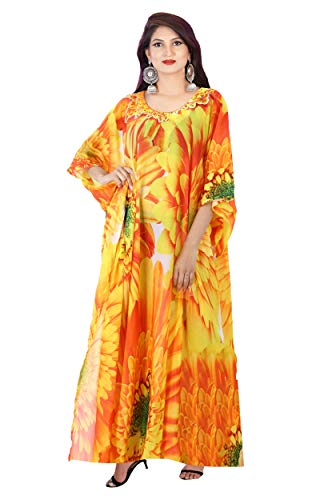 Cruise wear Kaftan Exotic Designer Print Kaftan Beach Party Kaftan Dress Embellished Plus Size Sequin Silk Full Length Kaftan for Shorties 415