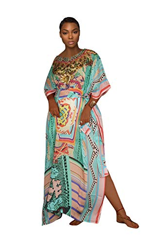 Women's Best Choice for Maxi Dress Long Leg Cut Kaftan, Beach Cover-up Kaftan, Beach Dress Kaftan,Beach were Silk Dress, Beach Party Kaftans,