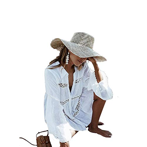 KUANDARM Beachwear, Beach Bikini Cover Up, One Piece Tassel Beach Dress for Women, Perfect Cotton Swimsuit Cover Ups for Summer Holidays Beach Parties Pool White