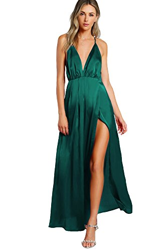 SheIn Women's Sexy Satin Deep V Neck Backless Maxi Party Evening Dress Dark Green X-Small