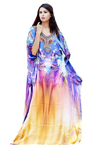 Silk kaftan Beautiful Womans one Piece Jewelled Full Length Resort wear Beach Coverup Kaftan Dress Gorgeous Evening Maxi Gown