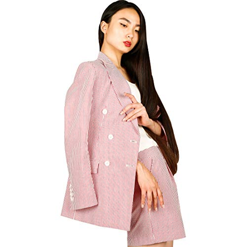 SUIT HEEL Women's Seersucker Stripe Double Suit Elegant Casual Two Piece Office Lady Suit Set Work Blazer Pants (Medium) Red